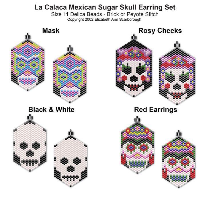 La Calaca Mexican Sugar Skull Earring Set 1   Bead-Patterns.com