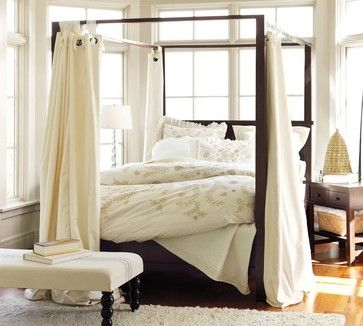 For the bed we have already- Mia's room- add hanging fabric? Love. Farmhouse Canopy Bed - Pottery Barn
