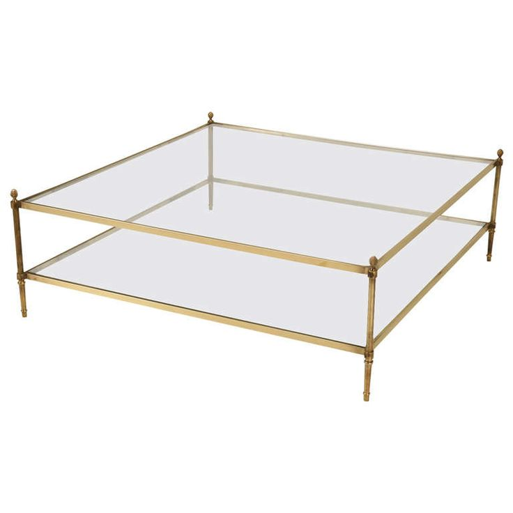 """Classic Vintage French 55"""" Square Two Tier Brass & Glass"""