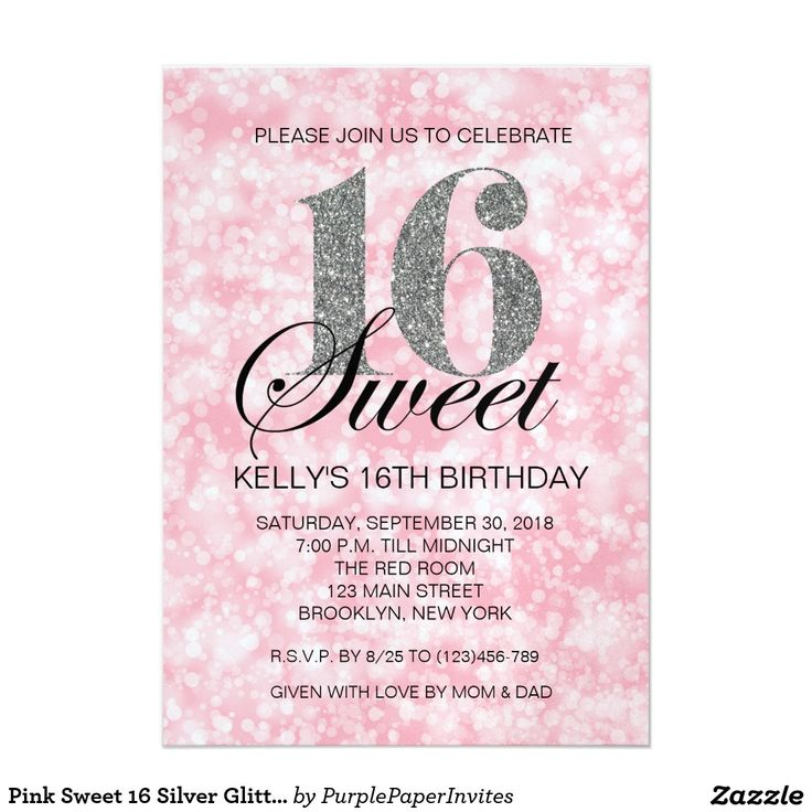 352 best sweet 16 invitations images on pinterest sweet 16 pink sweet 16 silver glitter lights print invite filmwisefo
