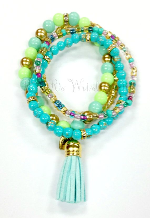 Boho Blue Beaded Bracelet Set MinimalistSeed by RandRsWristCandy