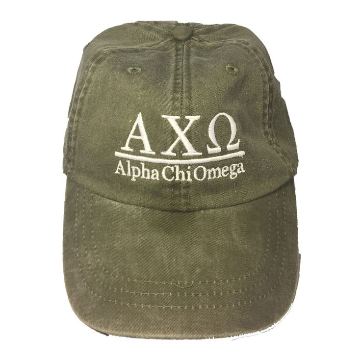 Alpha Chi Omega Sorority Hat- Olive - Brothers and Sisters' Greek Store