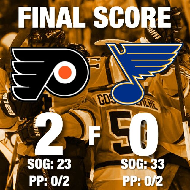 Flyers win! They shutout the Blues by a score of 2-0. Could have been a better game but we'll take the two points. Neuvirth obviously played good. Our inexperienced defensive core was good. Got caught in our own zone of few times but that 0 is really all that matters. Would have liked to get more offense again the same line was on the ice for both goals (Simmonds actually changed for Jake on the empty netter) so it's still something I want to see worked on. Say what you want about injuries…