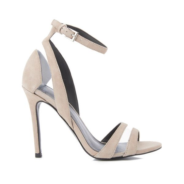 Kendall + Kylie Women's Goldie Suede Heeled Sandals (£150) ❤ liked on Polyvore featuring shoes, sandals, beige, clear stilettos, cut out heeled sandals, clear heel sandals, high heeled footwear and clear high heel shoes