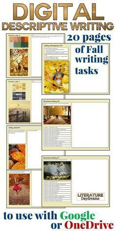 A Digital Learning resource made especially for your Google or OneNote classroom, this creative writing pack for the Fall 2016 is perfect for back to school digital learning. A great collection of unusual descriptive writing for Fall 2016. These Creative writing tasks, worksheets and activities are designed to inspire, challenge and enjoy!   No prep needed, 20+ pages of descriptive writing activities. Over 4 weeks or 20 hours worth of descriptive writing at your fingertips!
