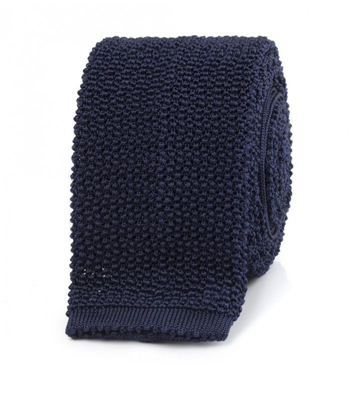 Navy Knitted Silk Solid Colour Tie