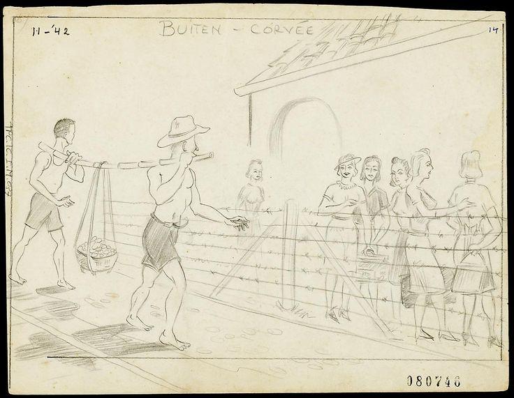Tekeningen van E.J. van Naerssen en J.H. van Motman betreffende het kamp Sterre der Zee, Bandoeng, 1942-1945.