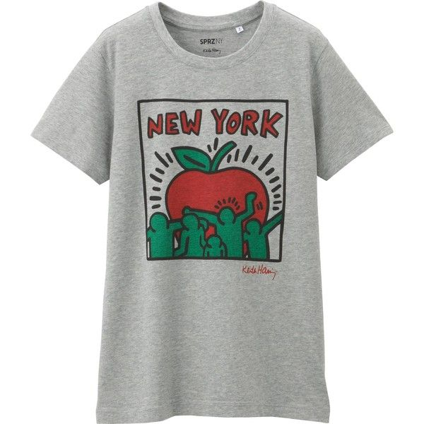UNIQLO Women Sprz Ny Short Sleeve T-Shirt (Keith Haring) ($20) ❤ liked on Polyvore featuring tops, t-shirts, grey, gray t shirt, 80s tees, bunny tee, 80s tops and gray top