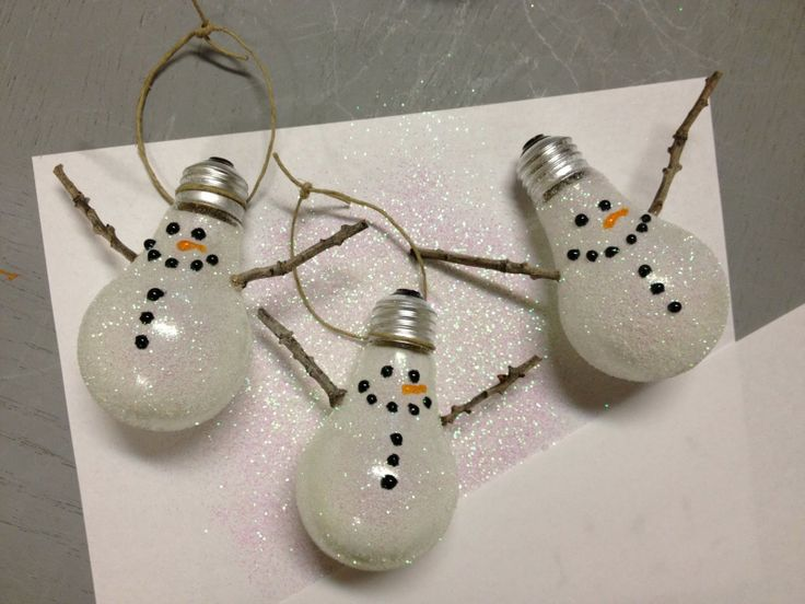 DIY snowman ornaments made out of old lightbulbs!