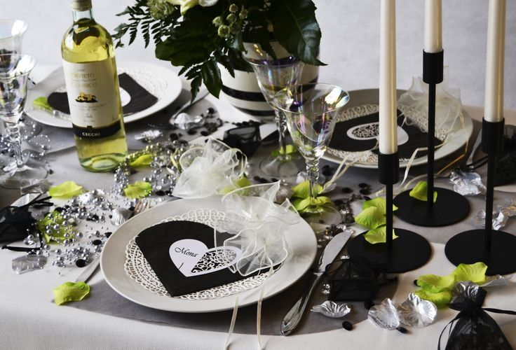 Black, white and green table setting