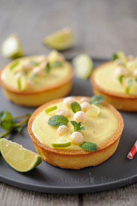 lovely garnishing of lime/mint tartlettes with a surprise inside (recipe in French, but there is a quirky English translator)
