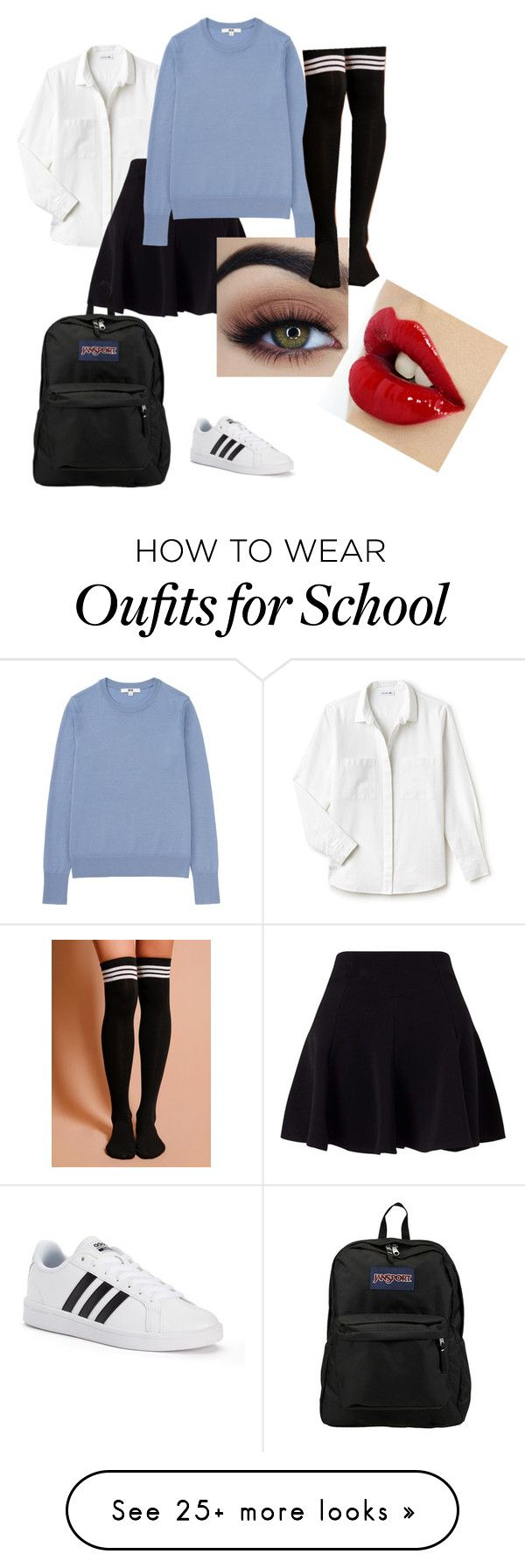 """School Uniform"" by dasharaywood on Polyvore featuring Lacoste, Miss Selfridge, Uniqlo, adidas and JanSport"