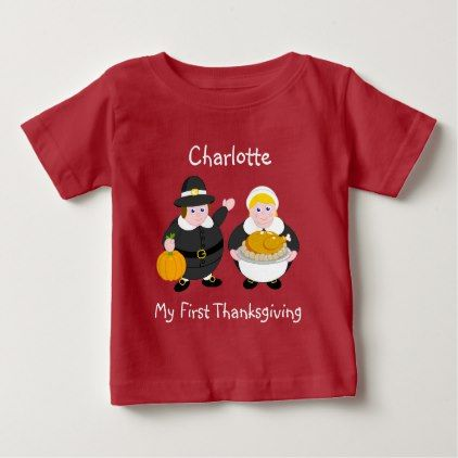 Thanksgiving Pilgrim Fathers pumpkin & turkey Baby T-Shirt - thanksgiving tshirts custom unique happy thanksgiving holiday celebrate