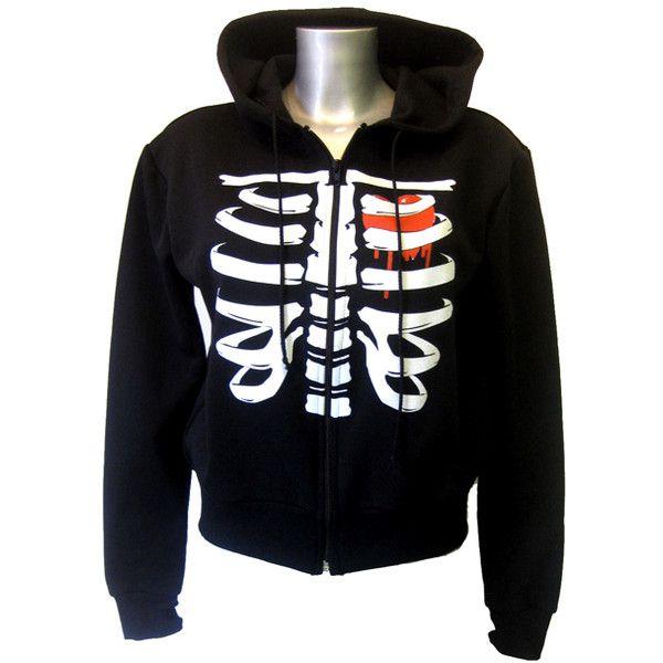 Death Kitty Rib Hoody | Gothic Clothing | Emo clothing | Alternative... ($39) ❤ liked on Polyvore