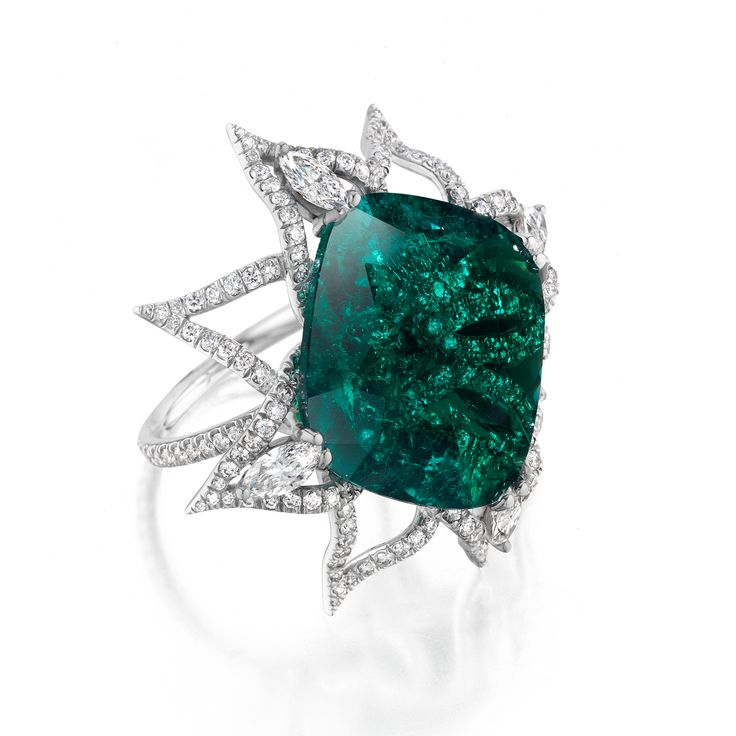 Daniel K-Cushion-Cut Emerald with Marquise-Cut Diamonds and Pavé set in a Handmade Platinum Mounting