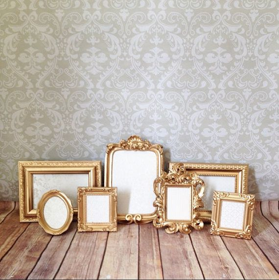 Vintage Style, Shabby Chic, Event Picture FRAMES Perfect Grouping of ornate picture frames in a warm gold or your choice of color; leave note to