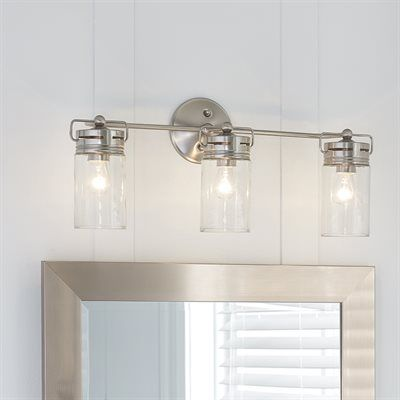 small bathroom lighting fixtures. vallymede 3 light brushed nickel bathroom vanity mason jar glass chic bath in home u0026 garden lamps lighting ceiling fans wall fixtures small