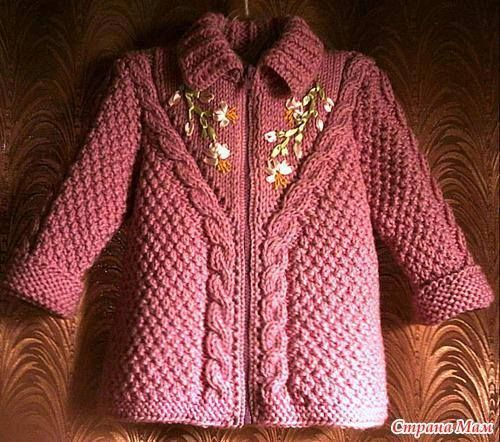 Saco rosa tejido a dos agujas