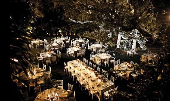 Outdoors Evening Wedding Reception