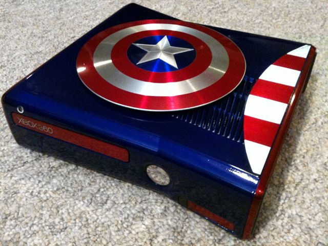 Custom Modified Captain America Themed Xbox 360 Console