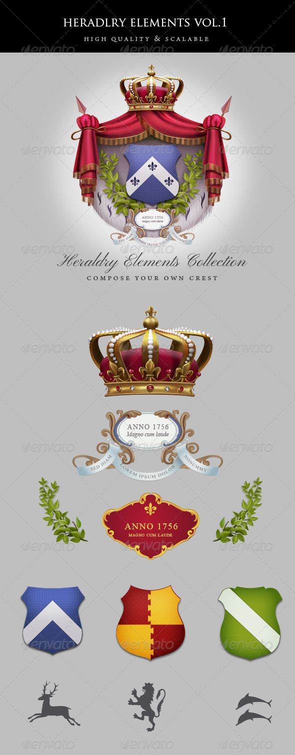 Vintage Heraldry Elements  #GraphicRiver           Collection of shields, laurel branches, ornate crests, heraldry shapes and crown. All elements are vector smart objects painted over and styled in Photoshop. You can mix and match them for making your own logo or coat of arms. Times New Roman font was used.     Created: 15April13 GraphicsFilesIncluded: PhotoshopPSD HighResolution: Yes Layered: Yes MinimumAdobeCSVersion: CS4 PixelDimensions: 1000x2443 Tags: 3d #arrow #badge #coatofarms #crest…