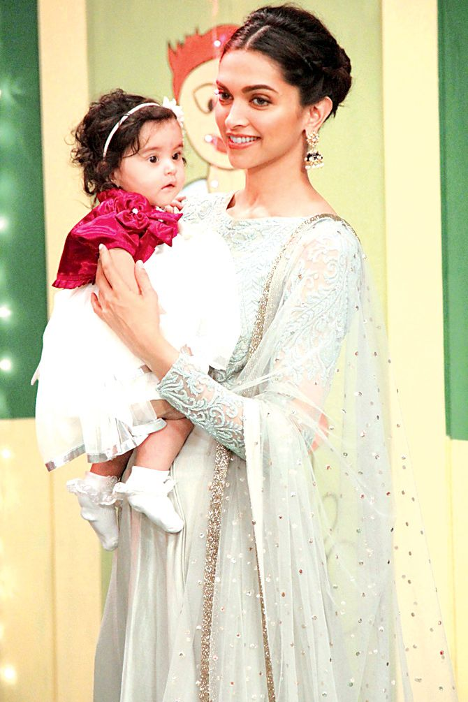 Deepika Padukone spotted on the sets of a popular televison show to show her support for the girl child.