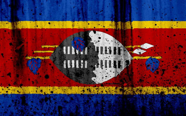 Download wallpapers Swaziland flag, 4k, grunge, flag of Swaziland, Africa, Swaziland, national symbols, Swaziland national flag