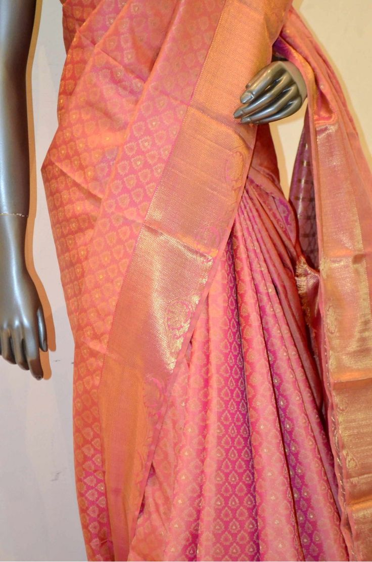 Jyothika traditional sari at shobi wedding saree blouse patterns - Pink Bridal Kanjeevaram Silk Saree With Traditional Zari Border
