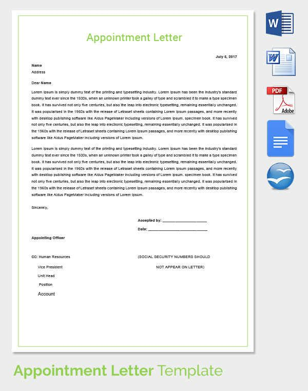 8 Best Images About Appointment Letter Template Word And Pdf