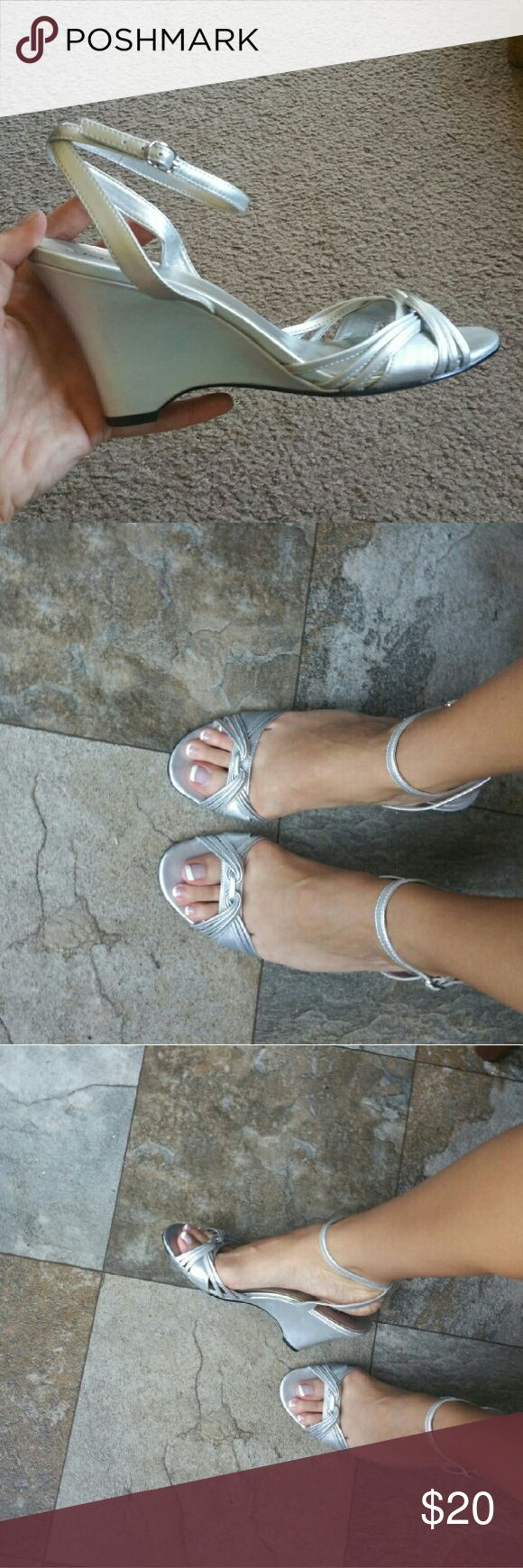 Shoes Only worn once to a wedding! Great condition. Silver wedge dress heel. East 5th Shoes Wedges