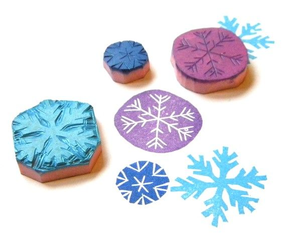 snowflake stamps. etsy shop #GreenGardenStamps