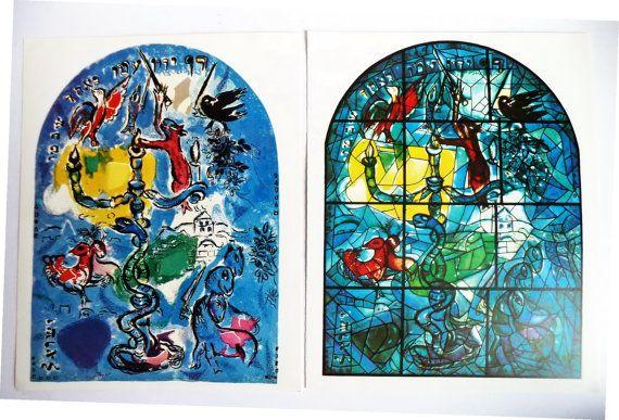 Pair 60s Original Marc CHAGALL prints DAN by MushkaVintage3