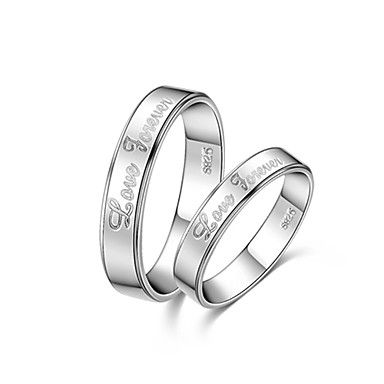 Love Forever Lettering 925 Silver With Rhinestone Couple Rings – AUD $ 24.29