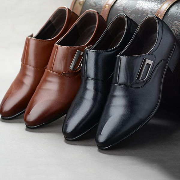 Men Hook Loop Pointed Toe Leather Formal Shoes Business Shoes - US$42.77