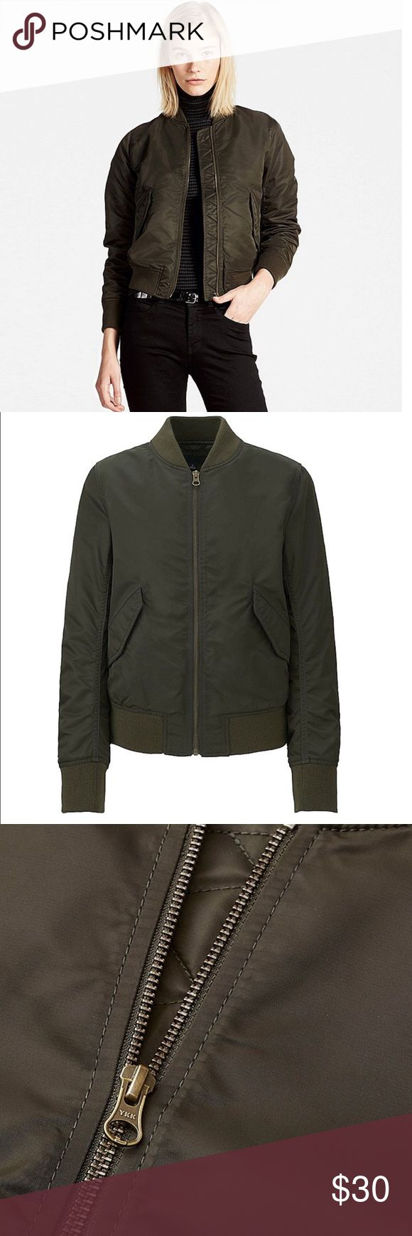 Uniqlo army green bomber jacket😎 In great condition! Purchased it last year it retails for $50 Uniqlo Jackets & Coats