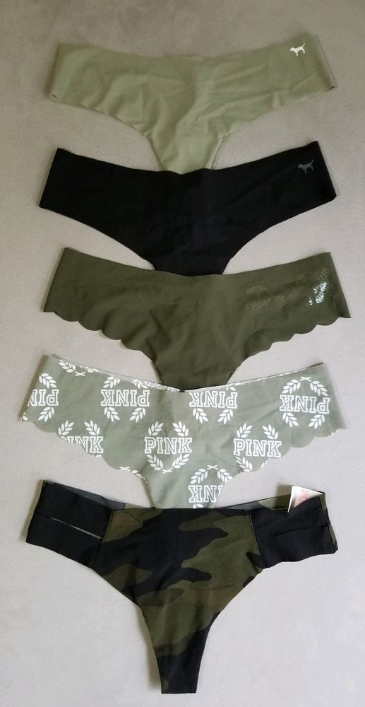 e06a044c0 Victoria s Secret PINK Lot of 5 Seamless No Show Thongs Panty Size Medium M  Camo  VictoriasSecret  Thongs  Everyday