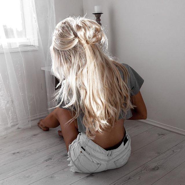 Красивые картинки девушек блондинок с длинными волосами вид со спины
