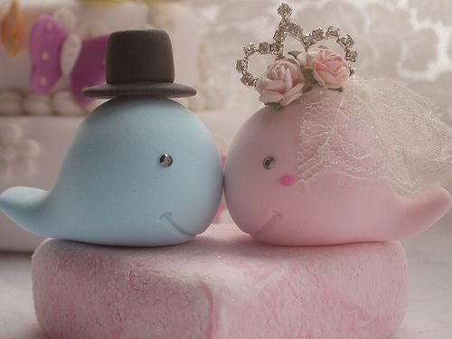 whale wedding cake toppers   Whale Bride and Groom Wedding Cake Topper