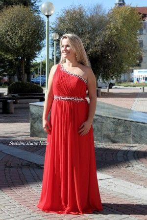Red Long Prom Dress A-style Evening Červené plesové šaty - dlouhé šaty -  maturitní šaty www.svatebninella.cz red dress d14b1d10b7