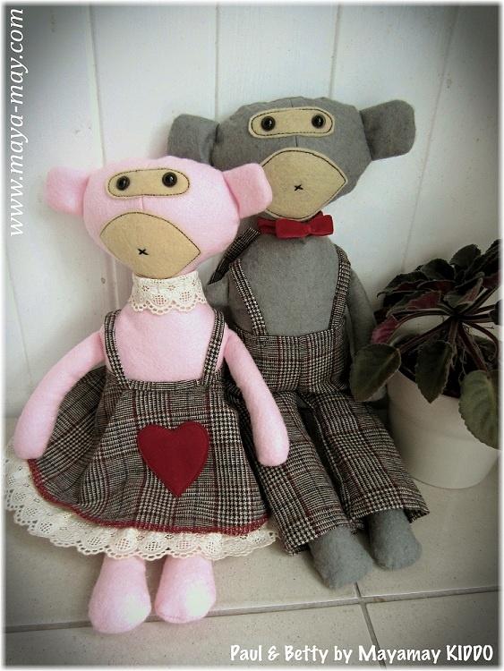 Meet our new plush friends PAUL & BETTY by MM KIDDO!. |Price: AUD20.00/set. or AUD18.00/single |www.maya-may.com |Enquiries: mayamay24@gmail.com. Text : Angela +61413504255 (Australia) #dolls #plushies #felt #handmade #kids #toys #gifts #crafts