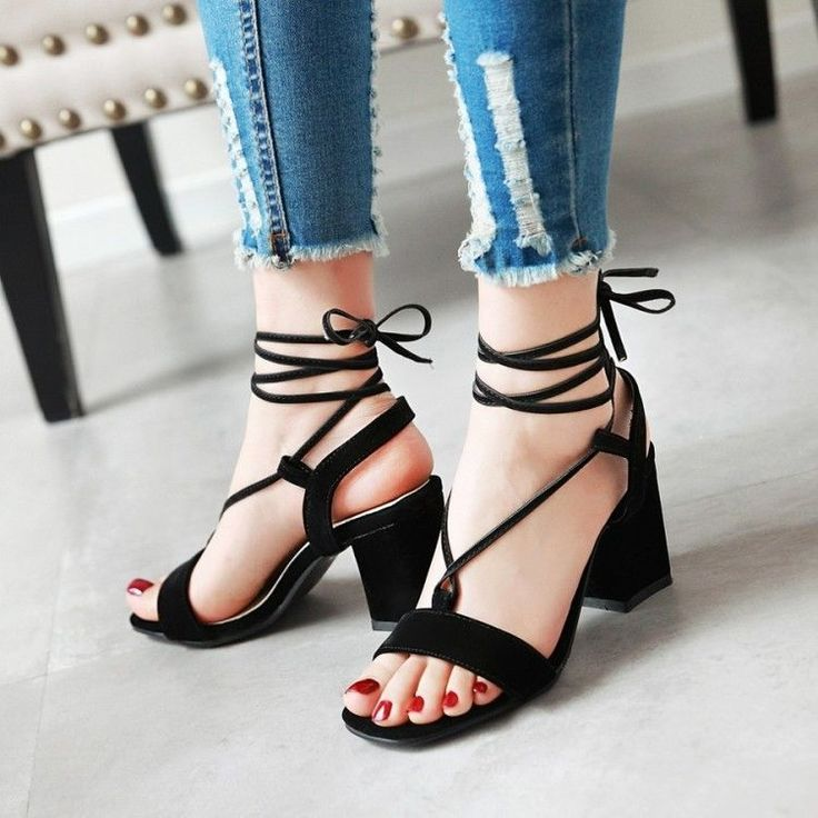 Women Lace-Up Cross Strappy Faux Suede Block High Heels Gasual Bohemia Shoes