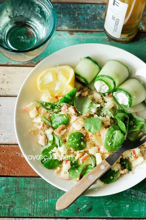 Apple Couscous & Goat Cheese Cucumber Rolls use Gluten Free Quinoa to replace the Couscous to make it Gluten Free!