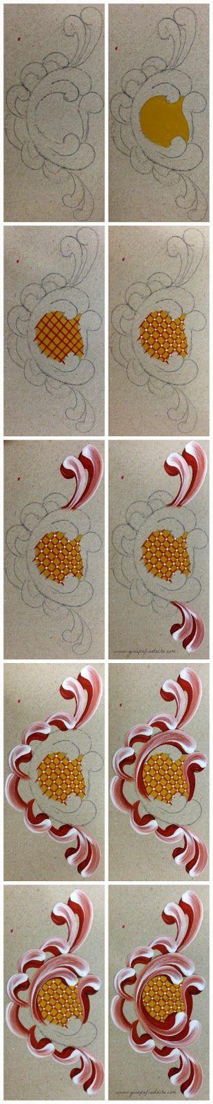 Atelier Gina Pafiadache: Passo a passo do Ornato ou Arabesco em Bauernmalerei 2