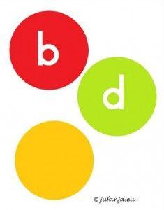 Spel b en d woorden. Kaartjes met woorden zoals boek enz. B of d woord