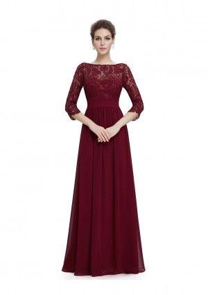 Langes Abendkleid mit eleganter Spitze Bordeaux Rot - bei