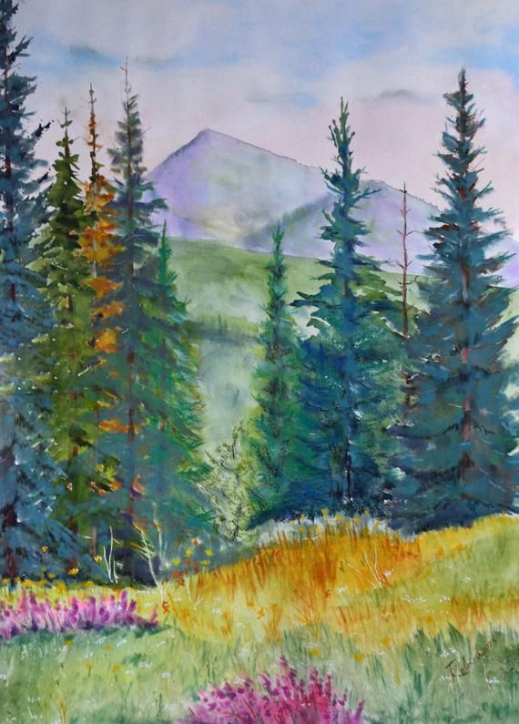 Original Colorado Fine Art Watercolor And Pastel Mountain Etsy Canvas Painting Landscape Landscape Drawings Wildflower Paintings