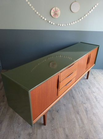 Painted Sideboard Khaki - Beautiful Scandinavian teak mid century sideboard. The top and sides have been painted in green khaki.