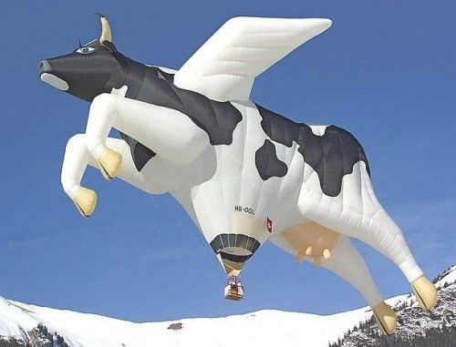 A flying cow hot air balloon