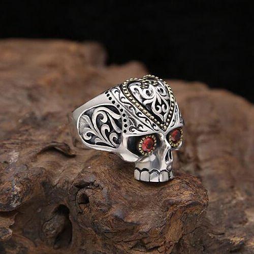 Men's Sterling Silver CZ Eyes Skull Ring