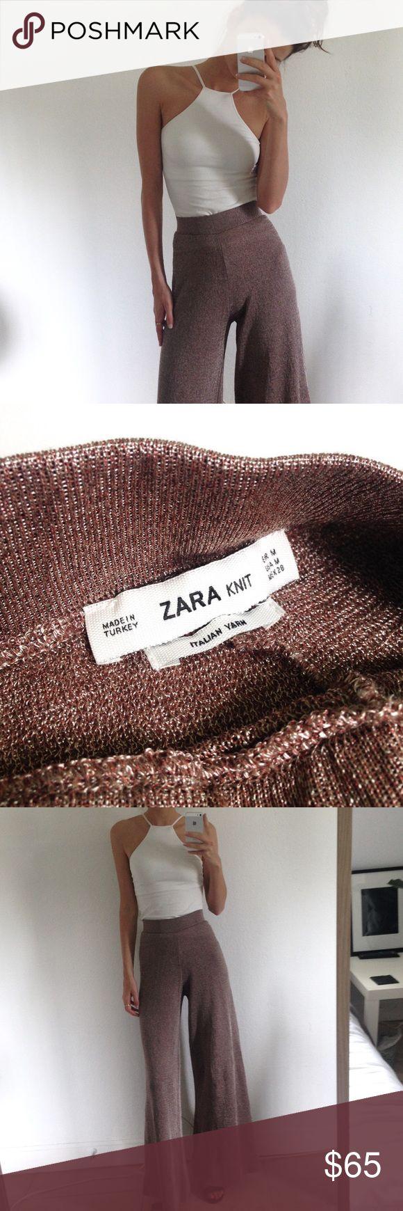 Zara / Knit Wide Leg Trousers Adorable Zara Knitted Wide leg nude trousers, size M. Extra long fit. Semi metallic Italian yarn. Perfect condition. RARE. Zara Pants Wide Leg